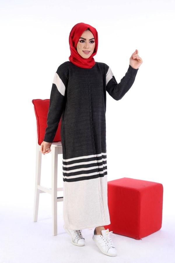 Triko Şık Tesettür Elbise 7612-11
