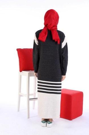 Triko Şık Tesettür Elbise 7612-11 - Thumbnail