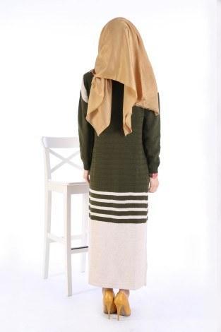 Triko Şık Tesettür Elbise 7612-12 - Thumbnail