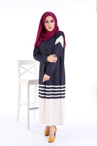Triko Şık Tesettür Elbise 7612-13 - Thumbnail