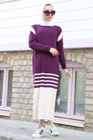 - Triko Şık Tesettür Elbise 7612-10