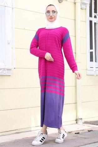 - Triko Şık Tesettür Elbise 7612-09