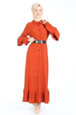 - Fırfırlı Kadife Elbise 5916-15 taba