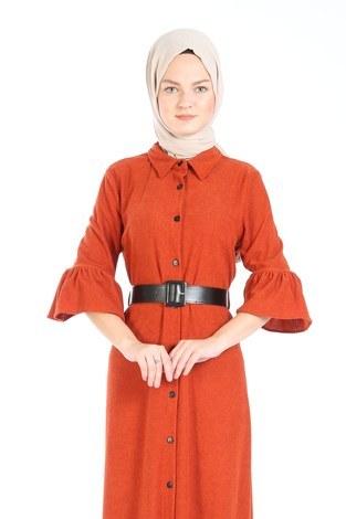 Fırfırlı Kadife Elbise 5916-15 taba - Thumbnail