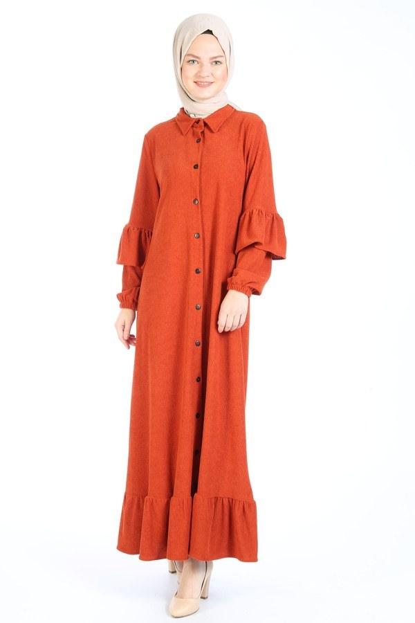 Fırfırlı Kadife Elbise 5916-15 taba