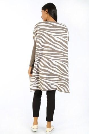 Zebra Desen Panço Kazak 7709-18 vizon - Thumbnail