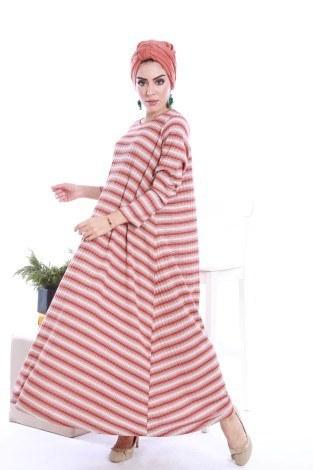 Çizgi Desen Triko Elbise 1112-01 - Thumbnail