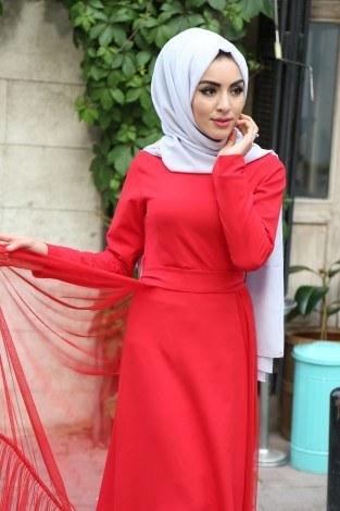 - Tül Detaylı Abiye Elbise 8924-2 (1)