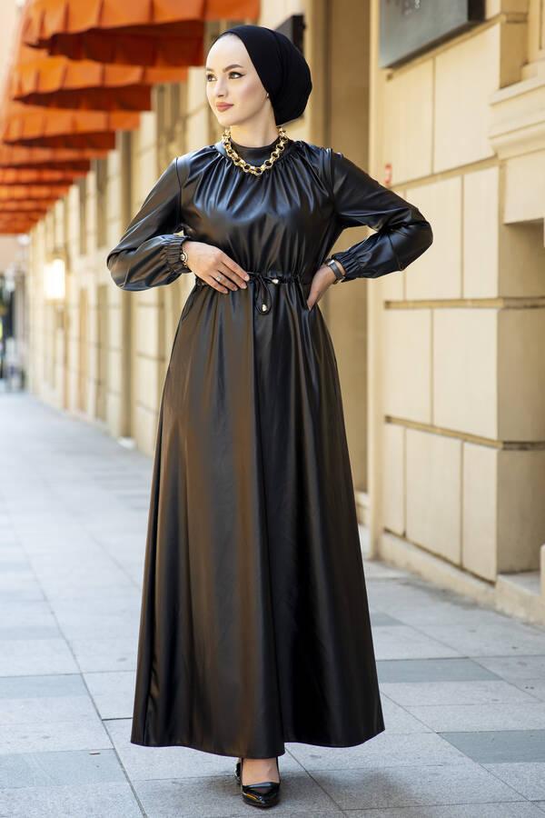 Tünel Kemerli Deri Elbise Siyah