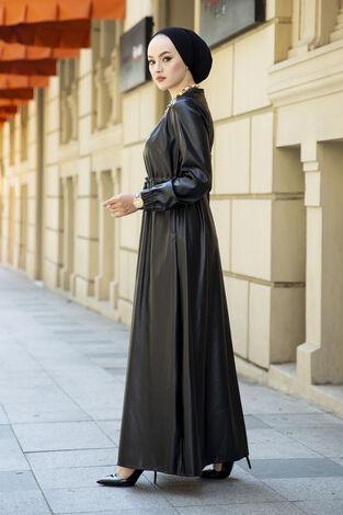 Tünel Kemerli Deri Elbise Siyah - Thumbnail