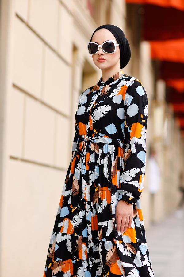 Tünel Kemerli Mevlana Elbise 420BD-20144 Siyah