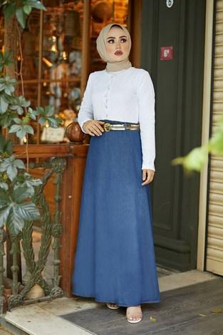 - Üstü Dantel Eteği Denim Elbise 6743-1