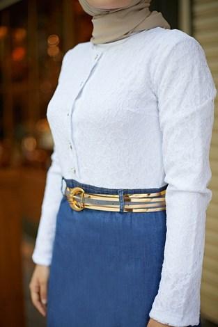 - Üstü Dantel Eteği Denim Elbise 6743-1 (1)