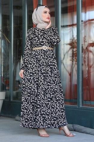 - Üzüm Yaprak Desenli Elbise 17641-1 Siyah