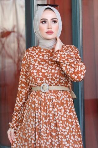 - Üzüm Yaprak Desenli Elbise 17641-2 Taba (1)