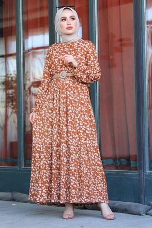 - Üzüm Yaprak Desenli Elbise 17641-2 Taba