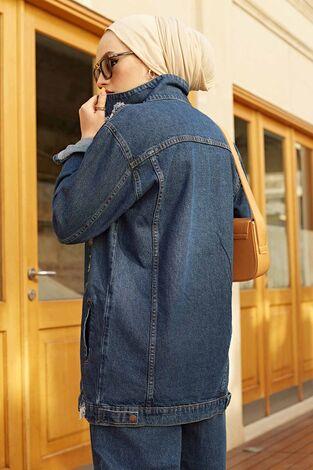 Uzun Yırtık Ceket 190E5011 Koyu Mavi - Thumbnail