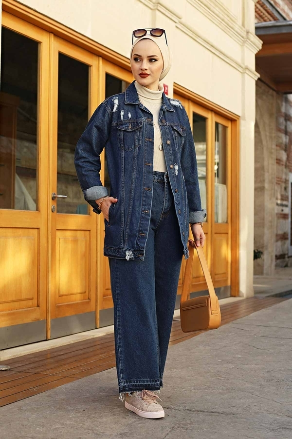 Uzun Yırtık Ceket 190E5011 Koyu Mavi