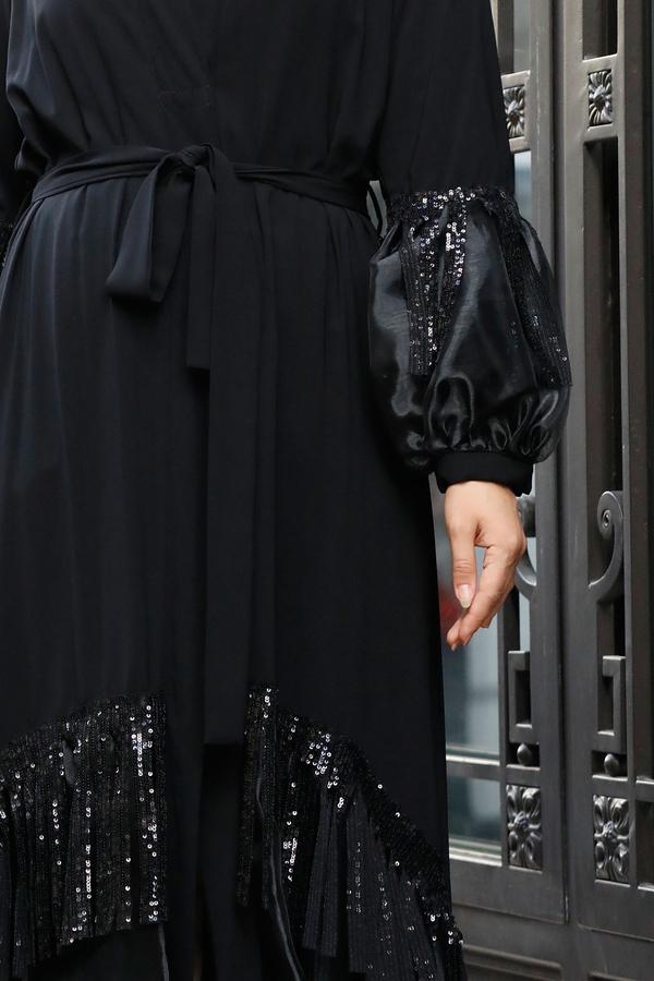 VDL Balon Kol Tüllü Abaya 9166-1 Siyah