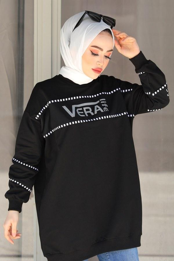 Vera Baskılı Sweat Tunik 27385-1 Siyah