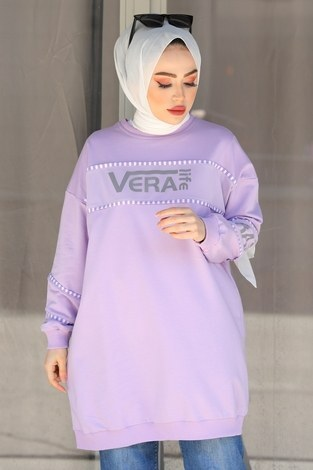 - Vera Baskılı Sweat Tunik 27385-3 Lila (1)