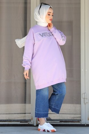 - Vera Baskılı Sweat Tunik 27385-3 Lila