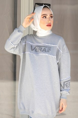- Vera Baskılı Sweat Tunik 27385-4 Gri (1)