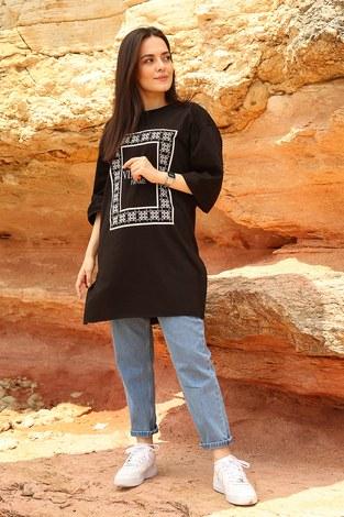 - Vıntage Yazı Baskılı T shirt 2452-1 Siyah
