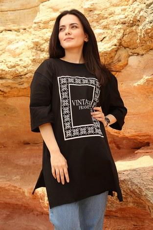 - Vıntage Yazı Baskılı T shirt 2452-1 Siyah (1)