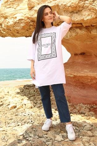 - Vıntage Yazı Baskılı T-shirt 2452-2 Beyaz