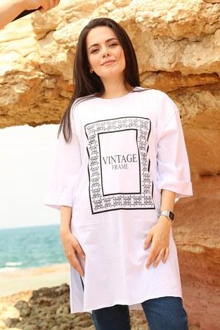- Vıntage Yazı Baskılı T-shirt 2452-2 Beyaz (1)