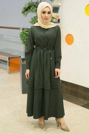 - Volen Detaylı Şık Tesettür Elbise 54532-01 Haki