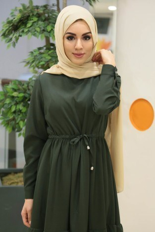 - Volen Detaylı Şık Tesettür Elbise 54532-01 Haki (1)