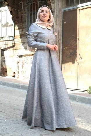 VVN Tesettür Abiye Elbise 56006-03 - Thumbnail