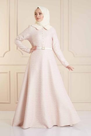 - VVN Tesettür Abiye Elbise 56006 - Pudra