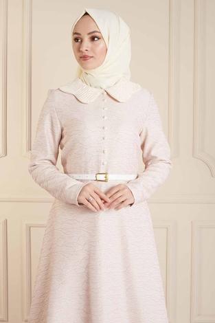 - VVN Tesettür Abiye Elbise 56006 - Pudra (1)