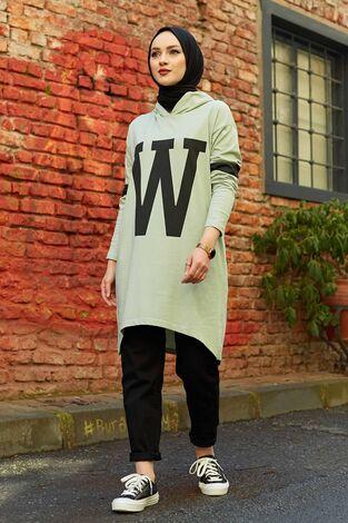 W Baskılı Kapşonlu Sweat 120NY-487 Mint - Thumbnail