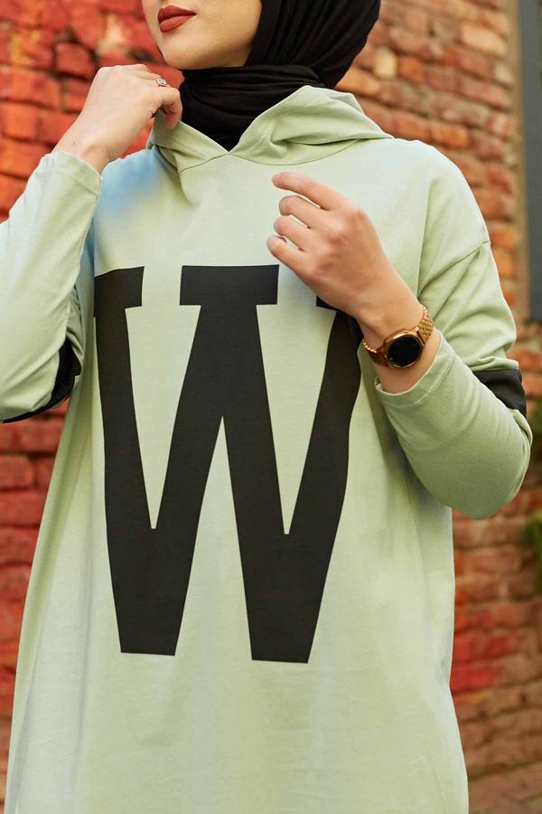 W Baskılı Kapşonlu Sweat 120NY-487 Mint