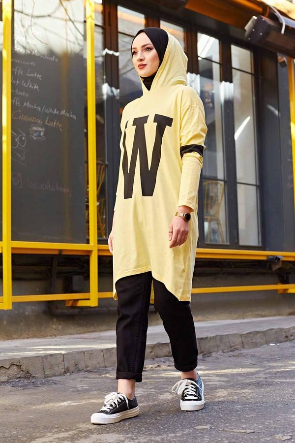 W Baskılı Kapşonlu Sweat 120NY-487 Sarı