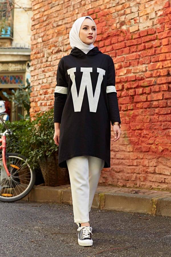 W Baskılı Kapşonlu Sweat 120NY-487 Siyah