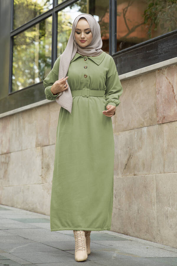 Yakalı Düğme Detaylı Elbise 100MD10110 Çağla Yeşili