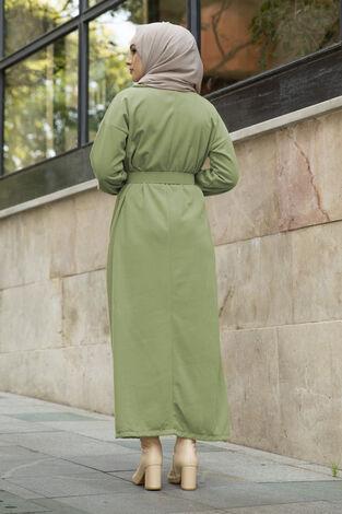 Yakalı Düğme Detaylı Elbise 100MD10110 Çağla Yeşili - Thumbnail