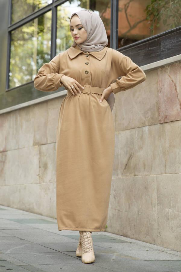 Yakalı Düğme Detaylı Elbise 100MD10110 Camel