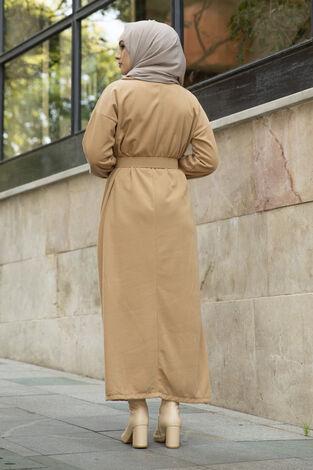 Yakalı Düğme Detaylı Elbise 100MD10110 Camel - Thumbnail