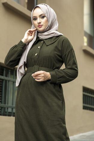 Yakalı Düğme Detaylı Elbise 100MD10110 Haki - Thumbnail