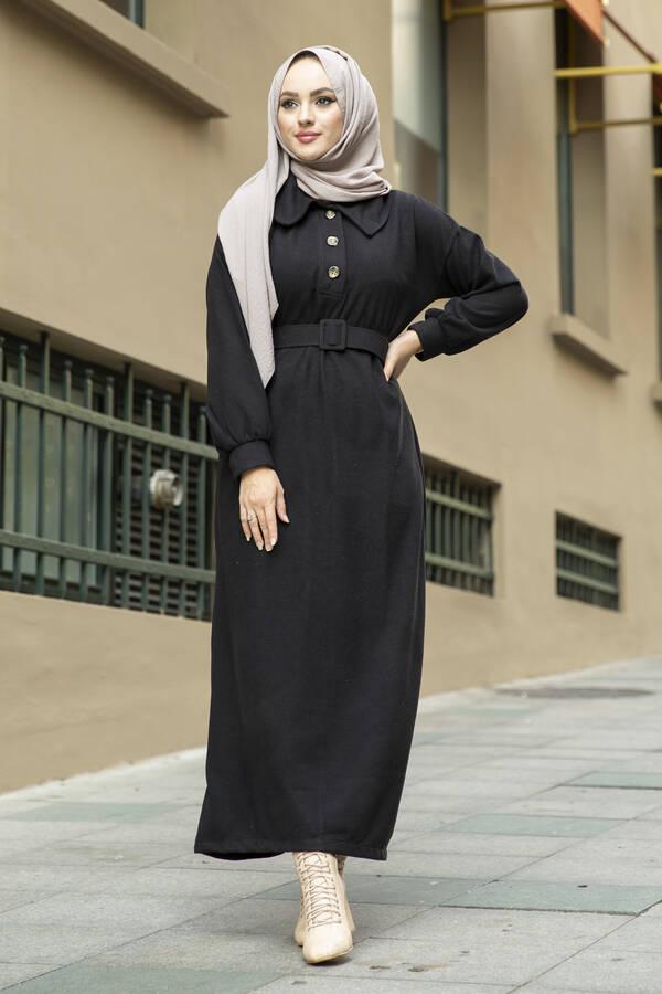 Yakalı Düğme Detaylı Elbise 100MD10110 Siyah
