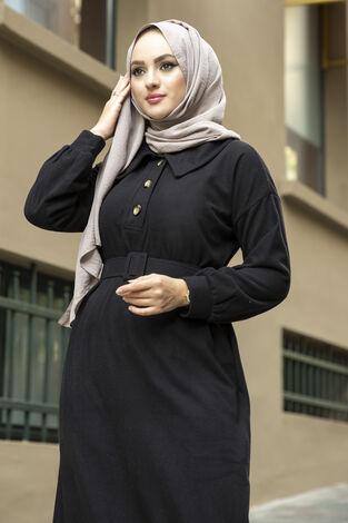 Yakalı Düğme Detaylı Elbise 100MD10110 Siyah - Thumbnail