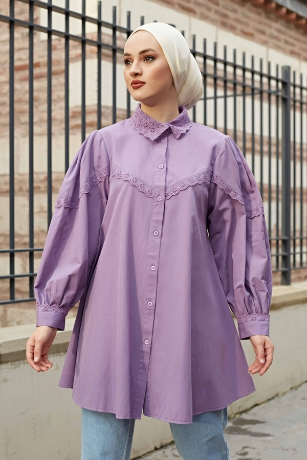 Yakası Dantel Detaylı Gömlek 510CLB61172 Lila