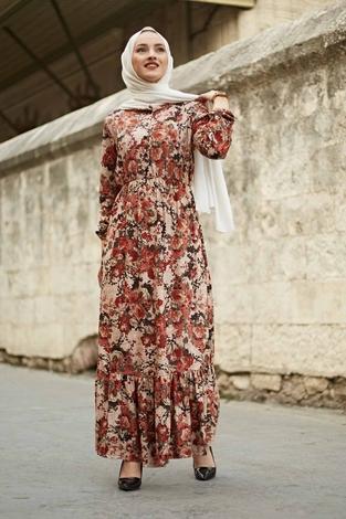 Yakası Düğme Detaylı Çiçekli Elbise 180SB8714 Kiremit - Thumbnail
