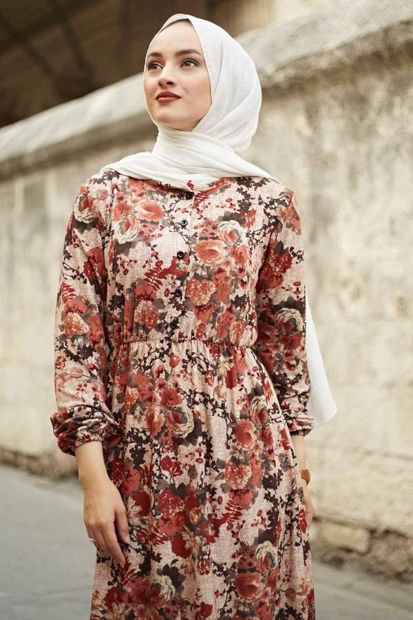 Yakası Düğme Detaylı Çiçekli Elbise 180SB8714 Kiremit